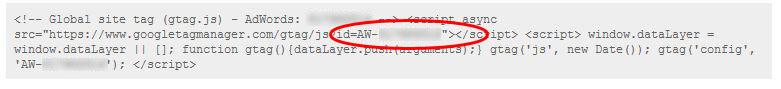 copy the Conversion ID