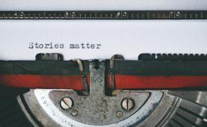 Vintage 'Stories Matter' Typewriter